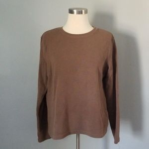 Brown ribbed long sleeved top